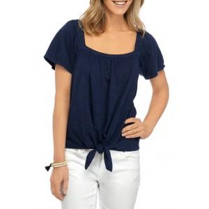 New Directions® Women's Studio Square Neck Tie Front T-Shirt