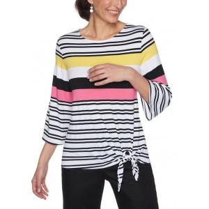 Ruby Rd Women's Color Crush Stripe Side Tie Knit Top