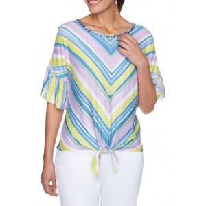 Ruby Rd Women's Embellished Striped Tie Front Top