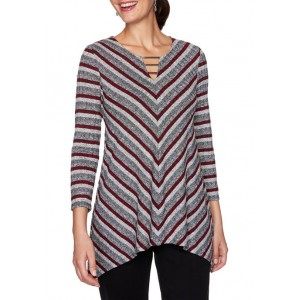 Ruby Rd Women's Paint the Town Red Split Neck Striped Top