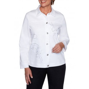 Alfred Dunner Women's Anchor's Away Rope Embroidered Jacket