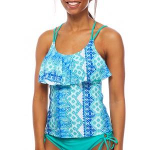Island Soul Flounce Swim Tankini Top with Cross Back Straps
