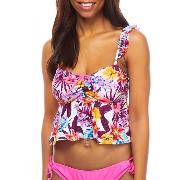 Island Soul Swim Midkini Top with Ruffle Straps