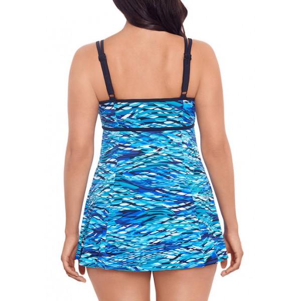Longitude Printed One Piece Swim Dress