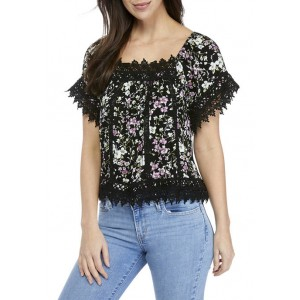 American Rag Junior's Flutter Sleeve Top with Lace Trim