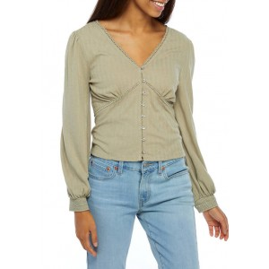 American Rag Women's Long Puff Sleeve Top with Lace Trim