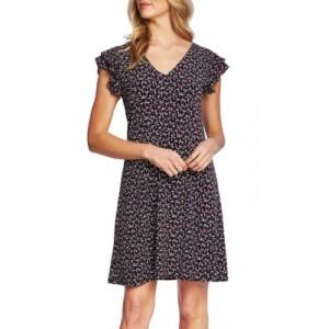 CeCe Flutter Sleeve Ditsy Dress