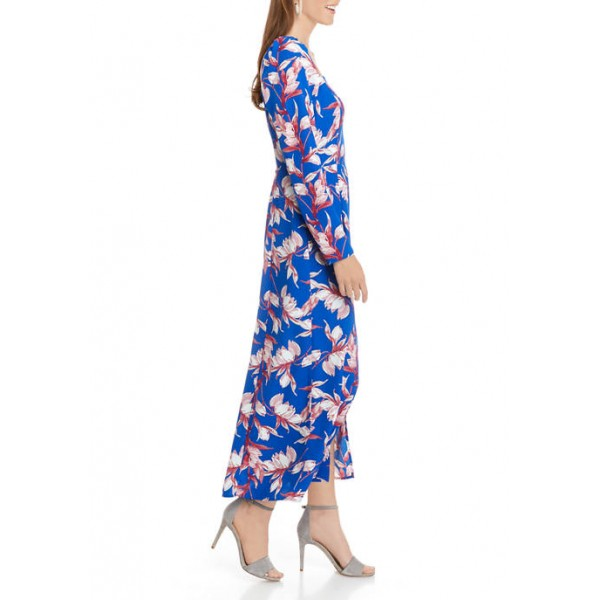 Charles Henry Women's Long Sleeve Corset Midi Dress