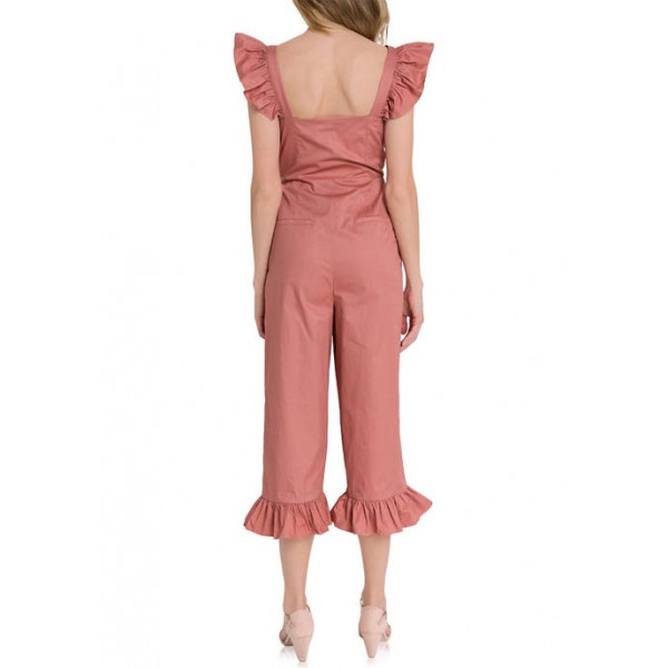 ENGLISH FACTORY Ruffled Sleeve Button Down Jumpsuit