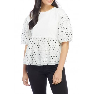 ENGLISH FACTORY Women's Heart Dotted Puff Sleeve Knit Top
