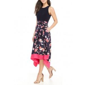 Vince Camuto Women's 2Fer Dress with Midi Handkerchief Hem