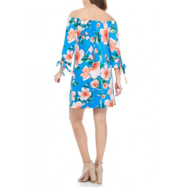 Vince Camuto Women's 3/4 Sleeve Off the Shoulder Floral Dress