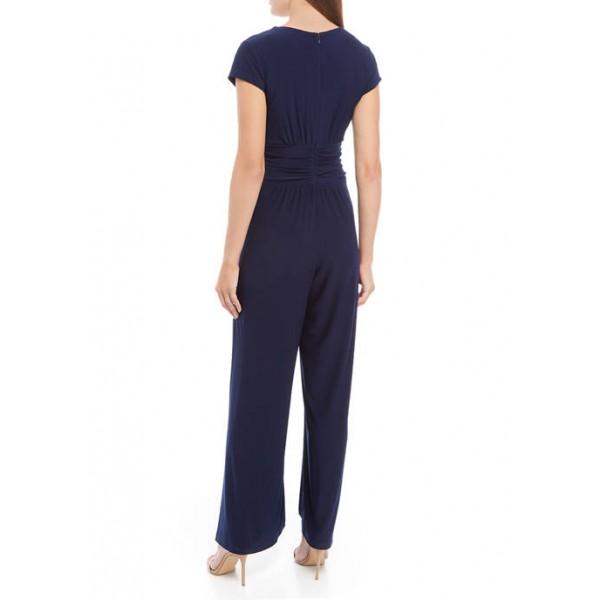 Vince Camuto Women's Short Sleeve V-Neck Twist Jumpsuit