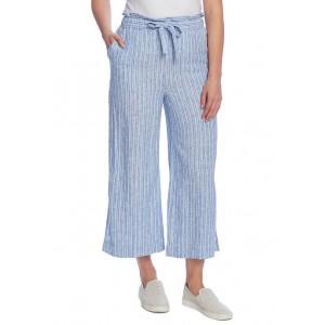 Vince Camuto Women's Wide Slit Linen Stripe Pants