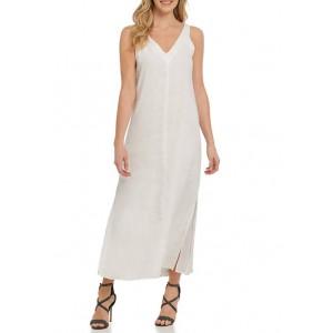 DKNY V-Neck Linen Maxi Dress