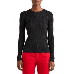 Lauren Ralph Lauren Metallic Cable-Knit Crewneck Sweater