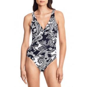 Lauren Ralph Lauren Paisley Surplice One Piece Swimsuit