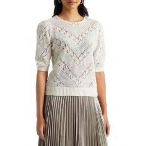 Lauren Ralph Lauren Women's Chevron Pointelle Linen Sweater