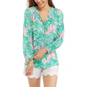 Lilly Pulitzer®  Women's Multicolored Palm Print Blouson Sleeve Split Neck Top