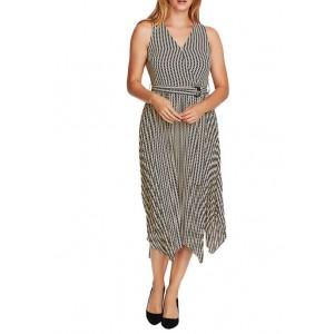 Vince Camuto Women's Sleeveless Check Midi Dress with Sash