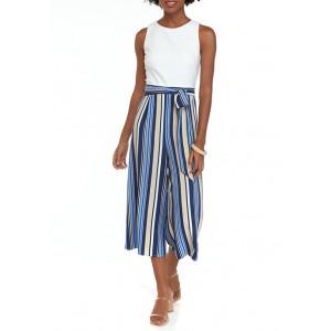 Vince Camuto Women's Solid Top Stripe Bottom Crop Jumpsuit