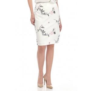 Kasper Women's Embroidered Floral Scuba Slim Skirt
