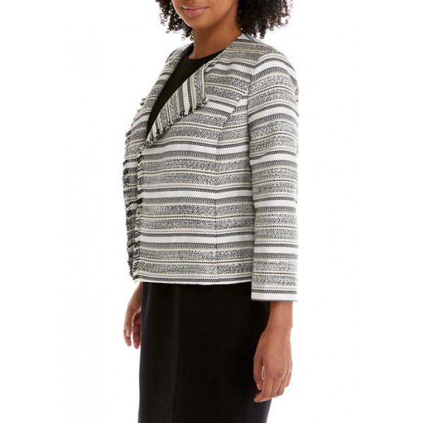 Kasper Women's Stripe Tweed Jacquard Jacket