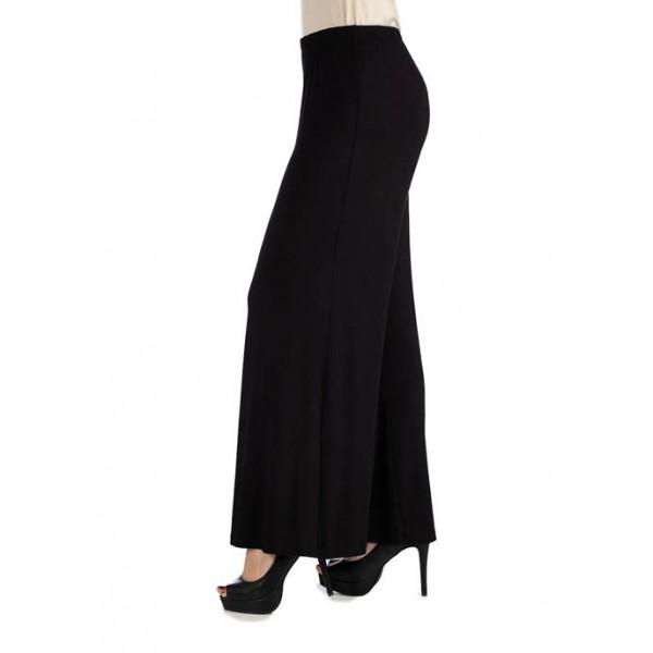 24seven Comfort Apparel Women's Comfortable Solid Color Palazzo Pants