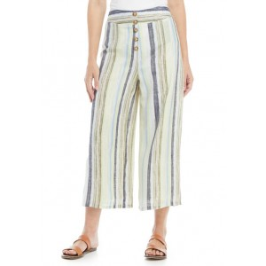 New Directions® Women's Wide Leg Button Front Cropped Pants