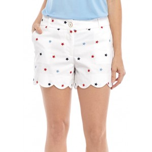 Crown & Ivy™ Scallop Hem Embroidered Shorts