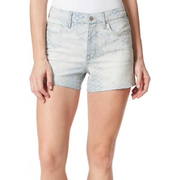 Frayed Women's Printed Denim Shorts