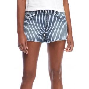 Jessica Simpson Striped Frayed Hem Denim Shorts