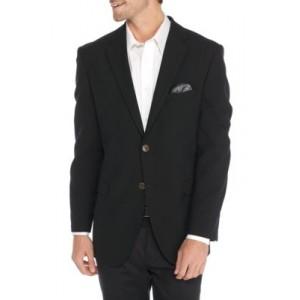 Adolfo Black Hopsack Micro Tech Modern Fit Suit Jacket