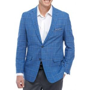 Crown & Ivy™ Blue Linen Windowpane Sport Coat