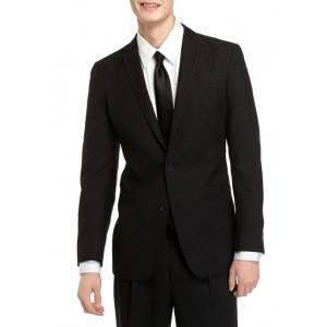 Kenneth Cole Men's Slim Fit Black Stretch Jacquard Dinner Jacket