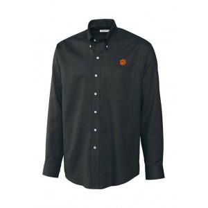 Cutter & Buck Big & Tall NCAA Clemson Tigers Long Sleeve Epic Easy Care Nailshead Shirt