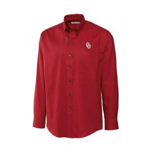Cutter & Buck Big & Tall NCAA Oklahoma Sooners Long Sleeve Epic Easy Care Nailshead Shirt