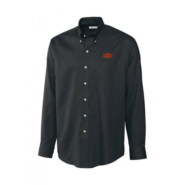 Cutter & Buck Big & Tall NCAA Oklahoma State Cowboys Long Sleeve Epic Easy Care Nailhead Shirt