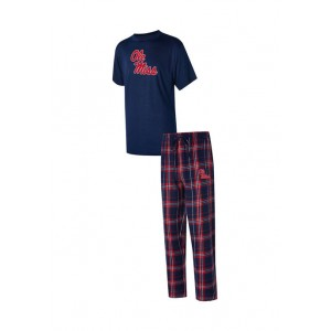 College Concepts NCAA Ole Miss Rebels Ethos Pants and Short Sleeve Top Set