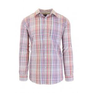 Galaxy Men's Long Sleeve Plaid Slim Dress Shirt