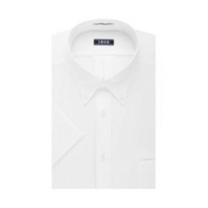 IZOD Short Sleeve White Allover Stretch Regular Fit Dress Shirt