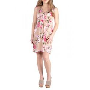 24seven Comfort Apparel Floral Empire Waist Sleeveless Party Dress