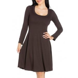 24seven Comfort Apparel Women's Classic Long Sleeve Flared Mini Dress