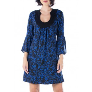 24seven Comfort Apparel Women's Knee Length Sheer Lace Party Dress