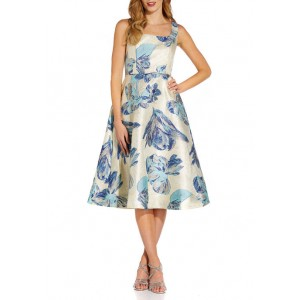 Adrianna Papell Women's Sleeveless Floral Fit-and-Flare Jacquard Dress