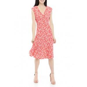 AK Anne Klein Women's Cap Sleeve Floral V-Neck Dress