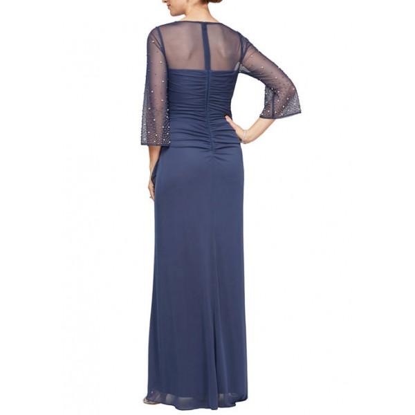 Alex Evenings Women's 3/4 Sleeve Sheer Yoke Ruched Gown