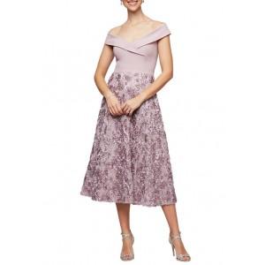 Alex Evenings Women's Off the Shoulder Rosette Skirt Midi Dress