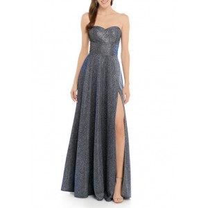 B. Darlin Women's Sleeveless Sweetheart Neck Shimmer Knit Gown