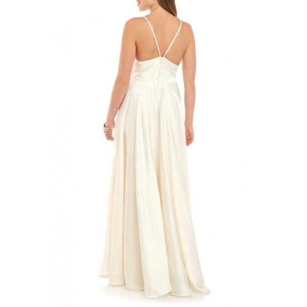 B. Darlin Women's Sleeveless V-Neck Satin Slip Dress